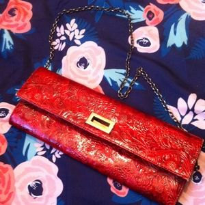 Jessica McClintock Red and Gold Clutch with Strap